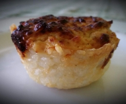 Mini quiche di porri in crosta di riso
